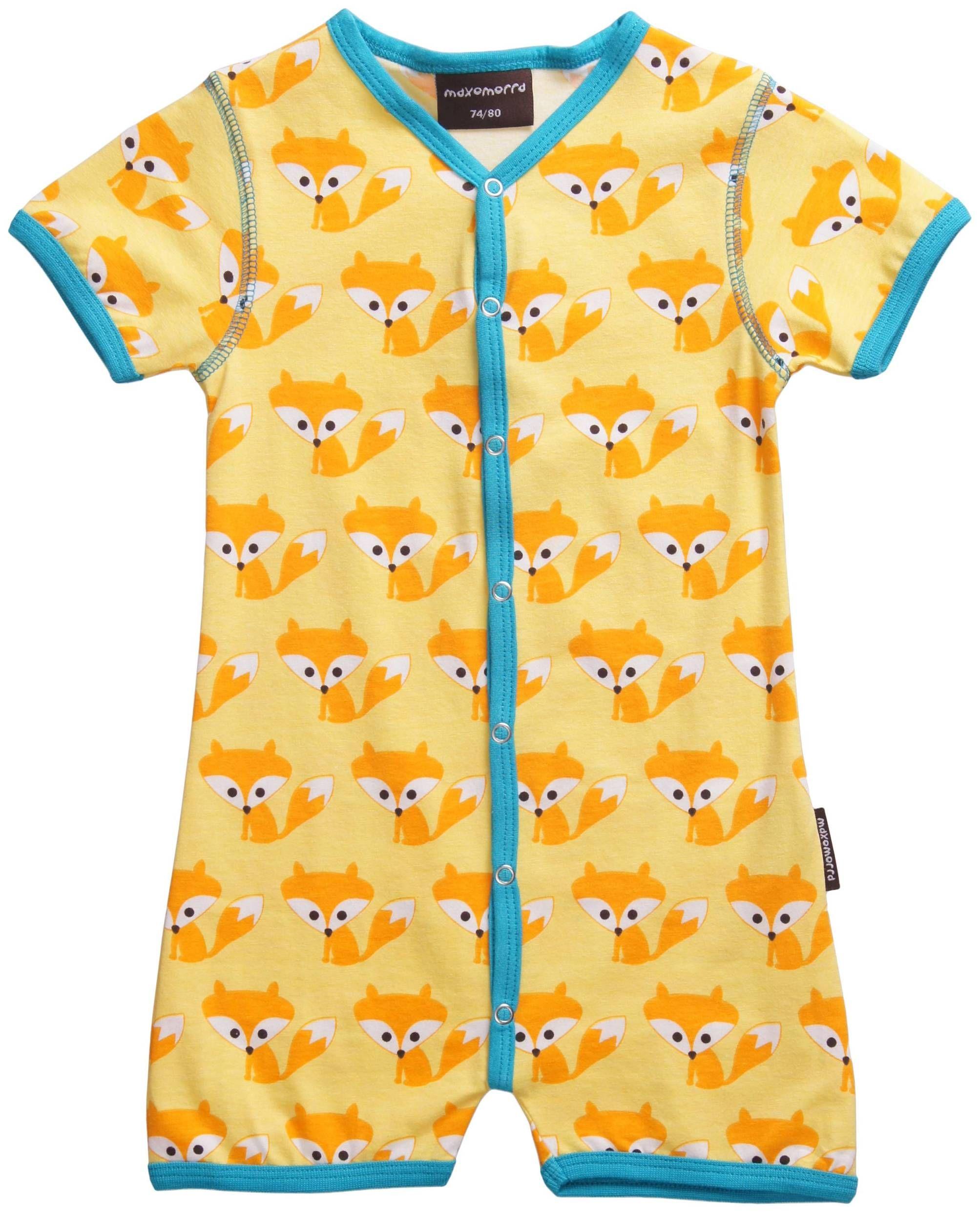 Maxomorra Summersuit Fox Blue Baby boy Pinterest