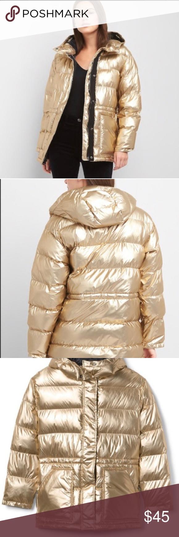 Gap Gold Cozy Puffer Coat Down Alternative Euc Clothes Design Fashion Outfits [ 1740 x 580 Pixel ]