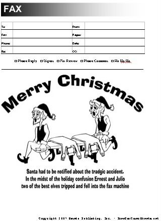 This Funny Christmas Fax Cover Sheet Has A Cartoon Of A Horrible