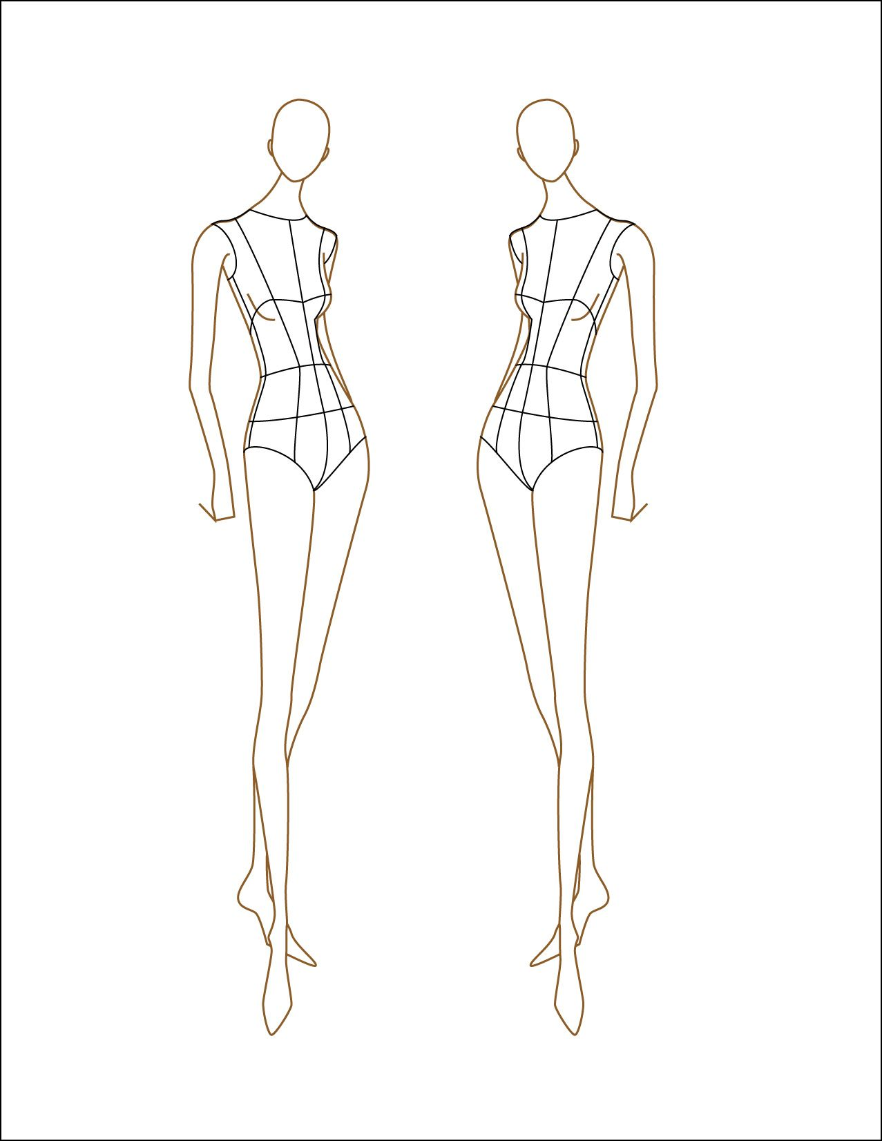 images of female fashion croquis templates figure 018
