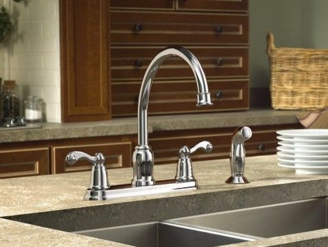 Moen Traditional Chrome Two Handle High Arc Kitchen Faucet