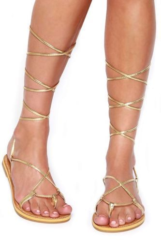 Lace-Up-Metallic-Leg-Wrap-Thong-Self-Tie-Flat-Gladiator-Flat-Sandals-ARMIN