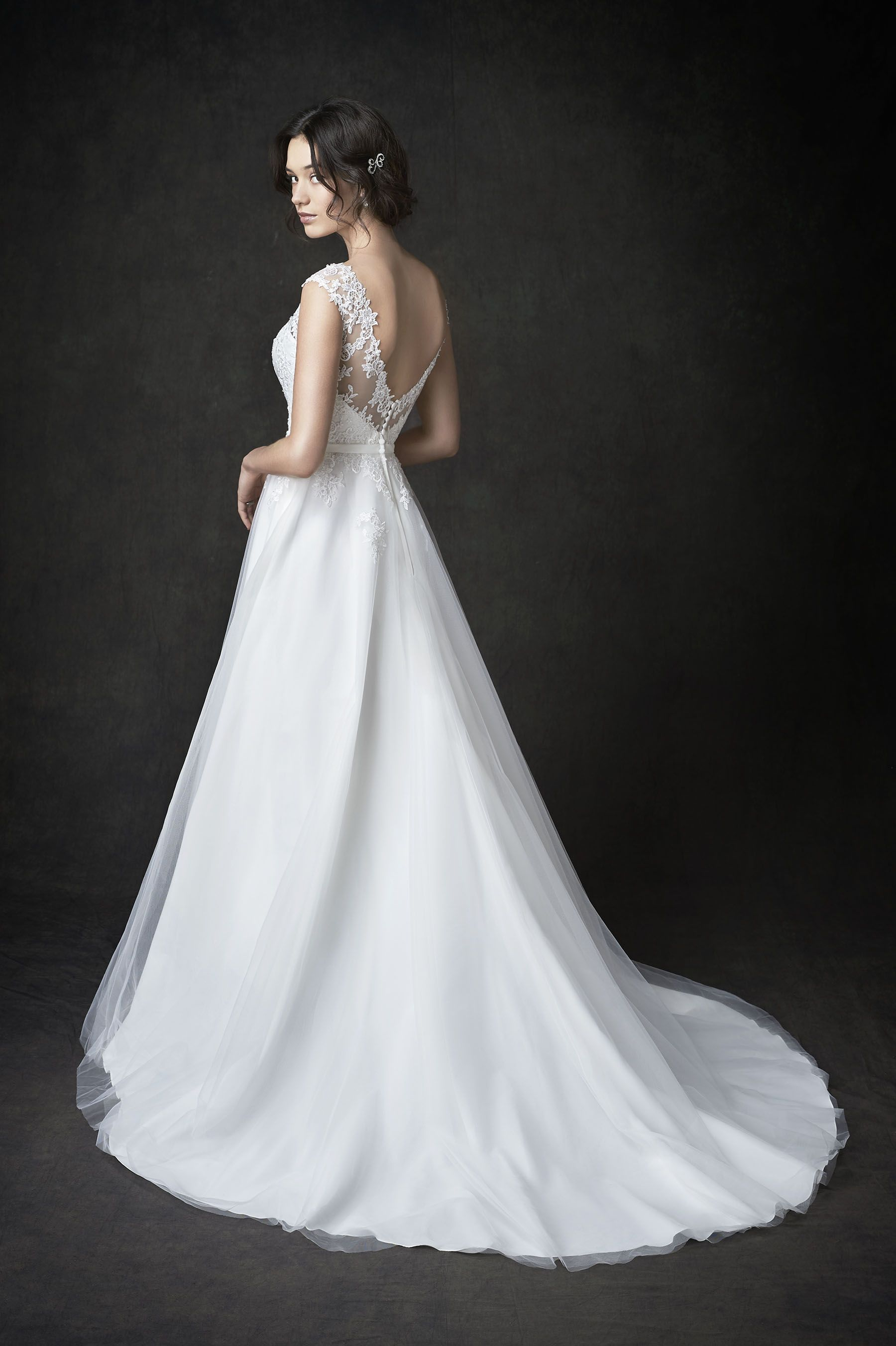 Gallery Style GA2273 | gorgeous lace and netting bridal gown with illusion lace v-back | romantic garden wedding | Kenneth Winston wedding dress