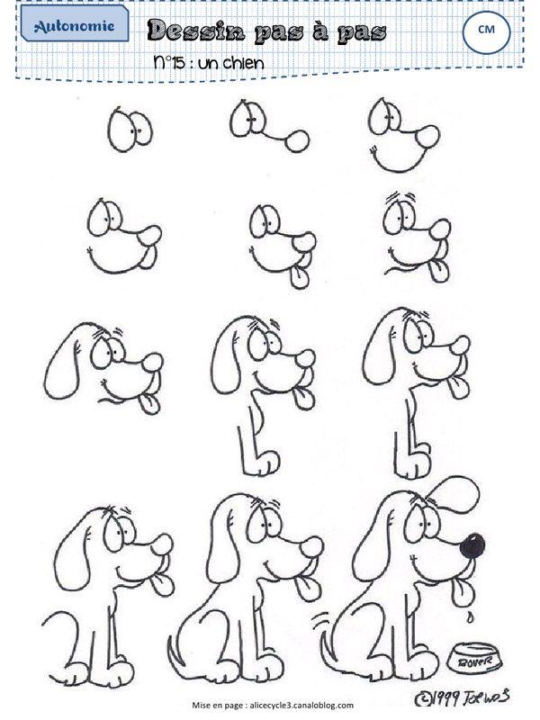 Pingl par rachel l sur kids how to draw 2 en 2019 - Dessin chien simple ...