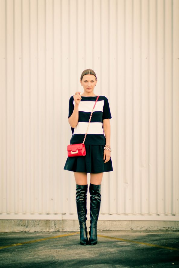 Black and white outfit with dvf charlie bag