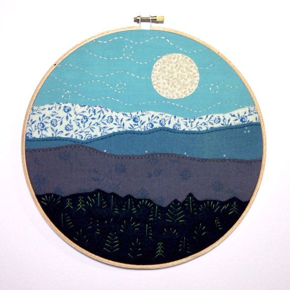 Full moon & blue mountains - Embroidery hoop art stitched by hand. #thebeefychicken #moon #mountains #embroidery