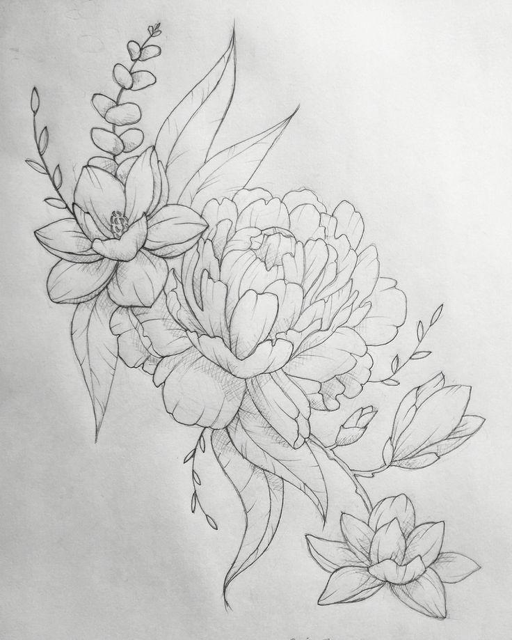 Line Drawing Flower Tattoos : Flower tattoo designs on pinterest rose thigh