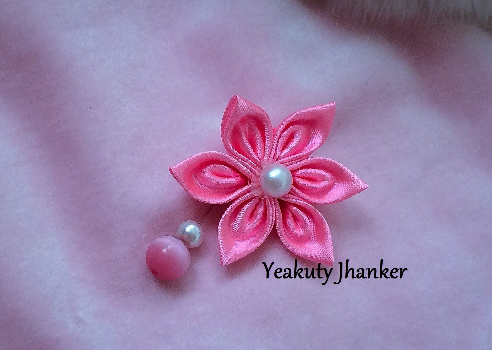 Kanzashi ribbon flower--- brooch/ hijab pin