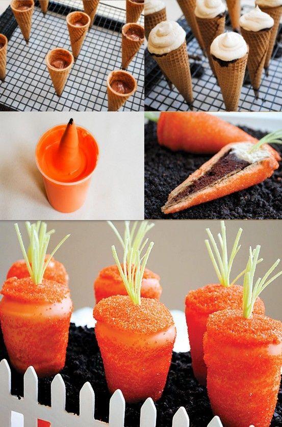 Osterdeko Selber Basteln Ideen Karotten Süssigkeiten Eis Waffel