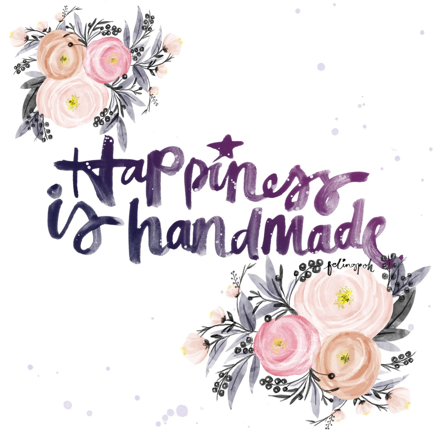 Happiness is handmade calligraphy lettering quotes