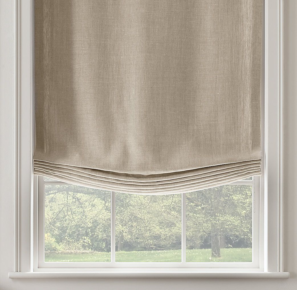 Belgian Textured Linen Relaxed Roman Shade Windows