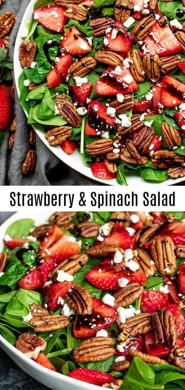 Dieser schöne Spinatsalat mit Erdbeeren wird mit Essig-Vinaigrette-Bällchen gewürzt …