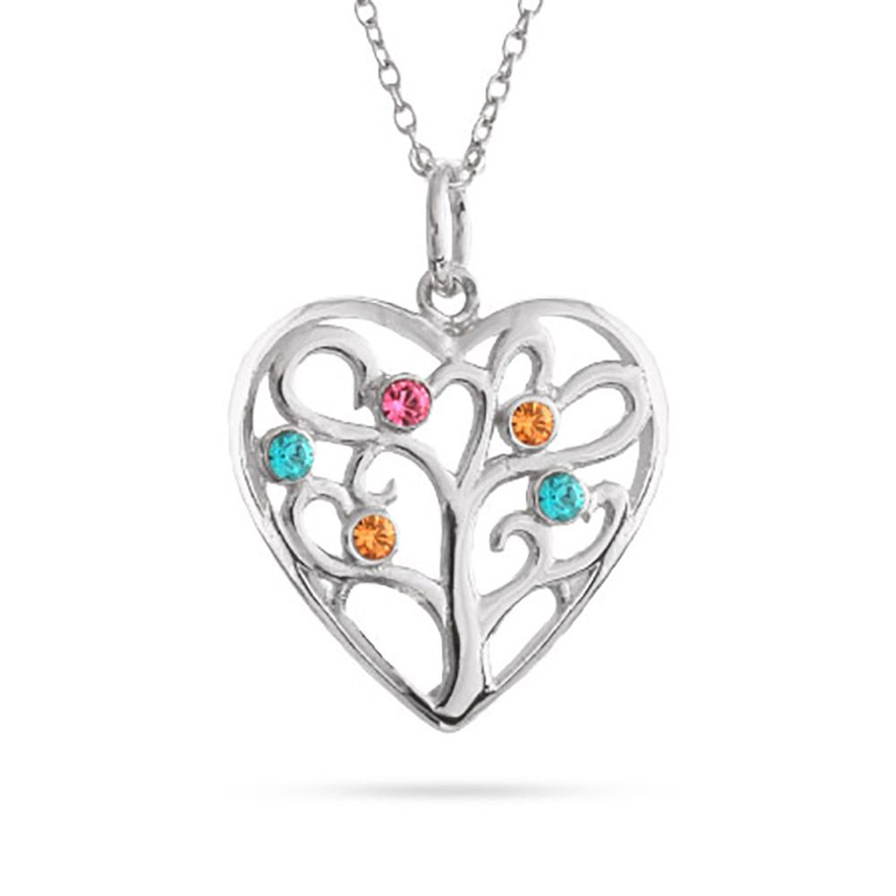 Add 5 birthstones to this fun family tree shaped like a heart the heart charm with 4 custom birthstones inside the heart the family tree heart pendant will wow someone you love aloadofball Choice Image