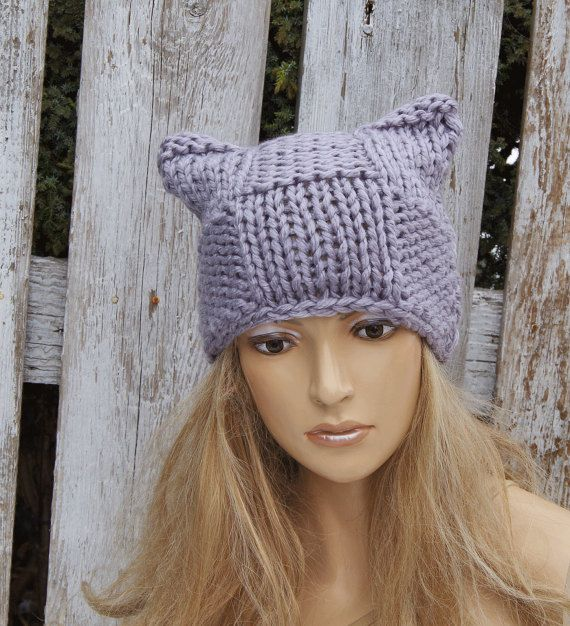 fc57d7246021c Grey pussyhat Beanie Hat Grey knitted Beanie Cat hat Women s Knitted pink  cat hat Outer wear Cute Outside Warm Adult Teen Comfortable