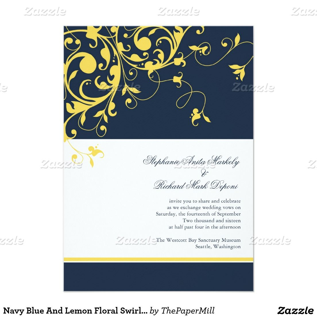 "Navy Blue And Lemon Floral Swirls Wedding 4"" X 4"" Invitation Card"