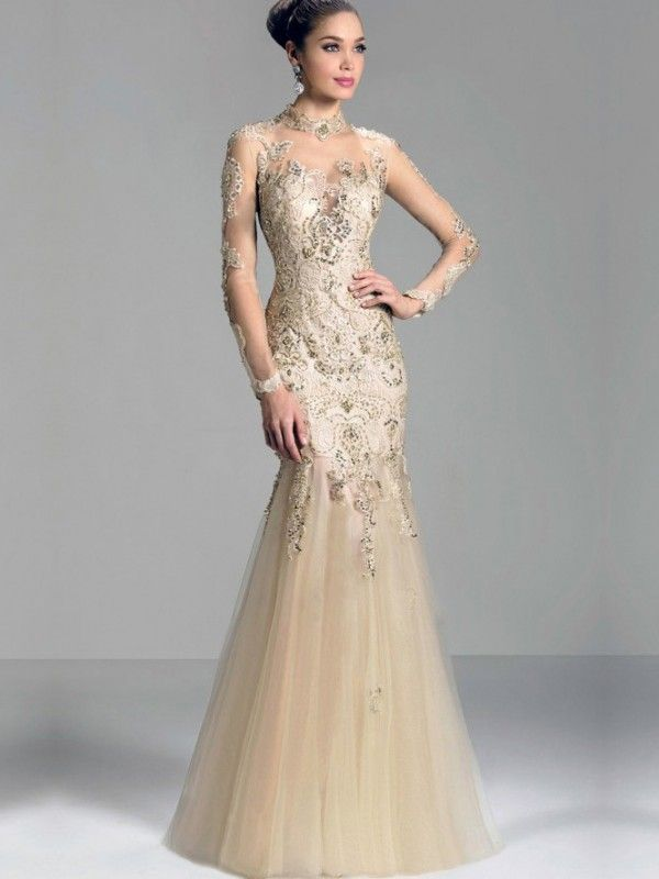 Champagne Mermaid Prom Dresses