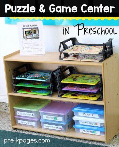 Puzzle Center in Preschool #preschoolclassroomsetup