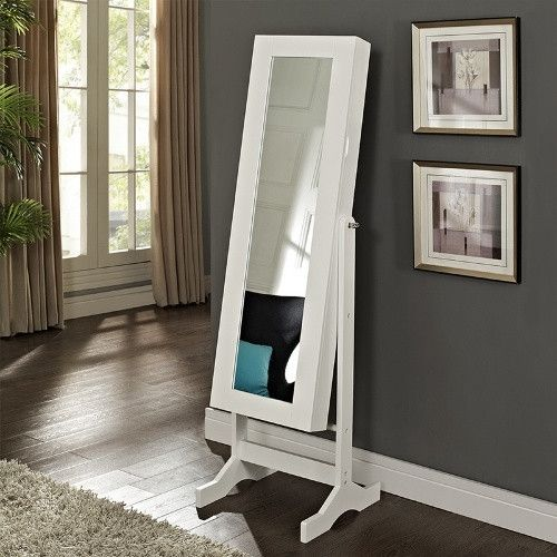 Modern Jewelry Armoire Cheval Mirror   High Gloss White