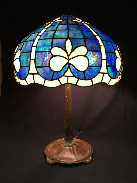 French blue lamp hand crafted stained glass table lamp fleur de lis sparkling blue chinoiserie chic cottage style dutch blue