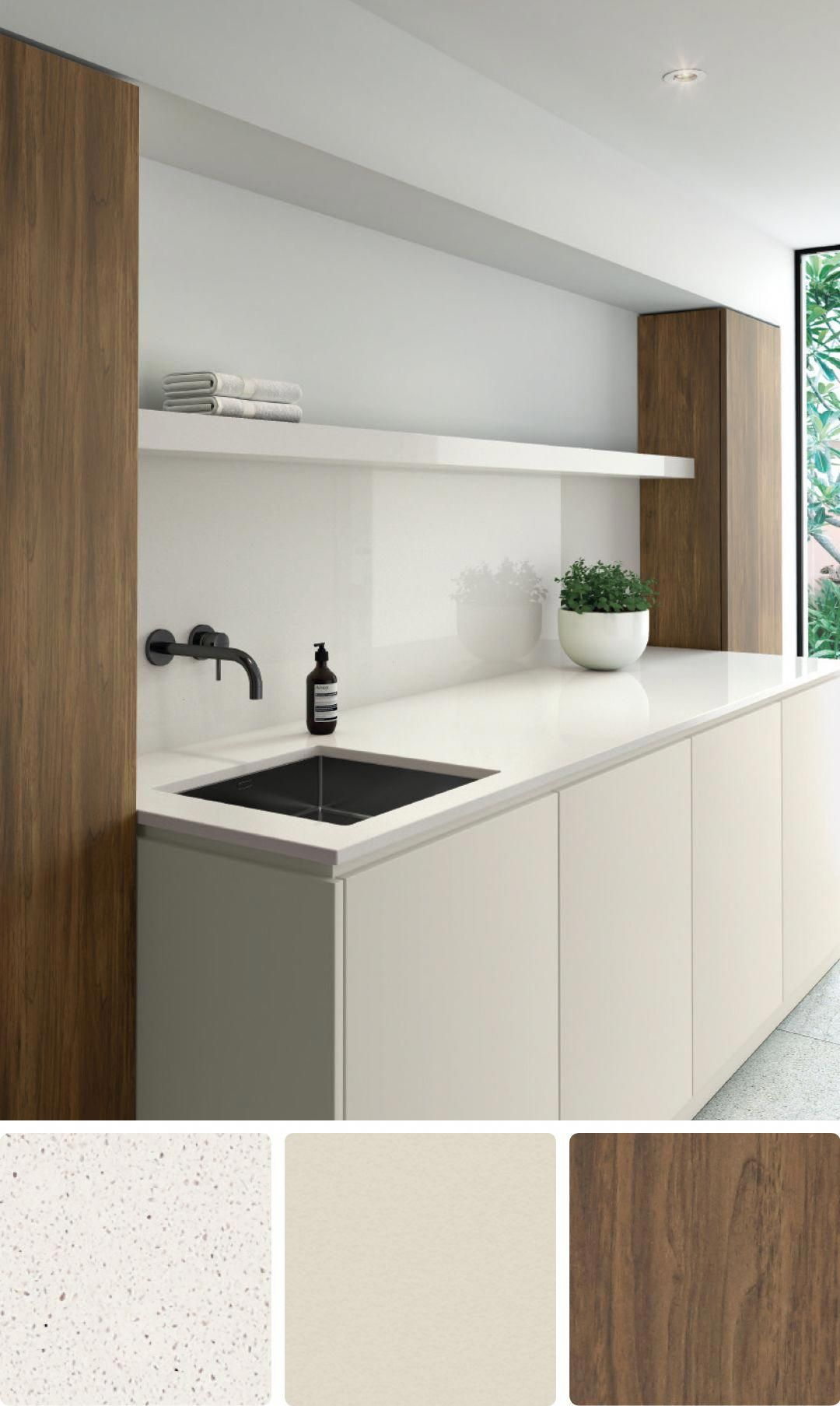 8 Beautiful White Colour Schemes For Kitchens Bathrooms And Laundries Kitchenideascolours Bathroom Color Schemes House Color Schemes Interior Laundry Room Colors