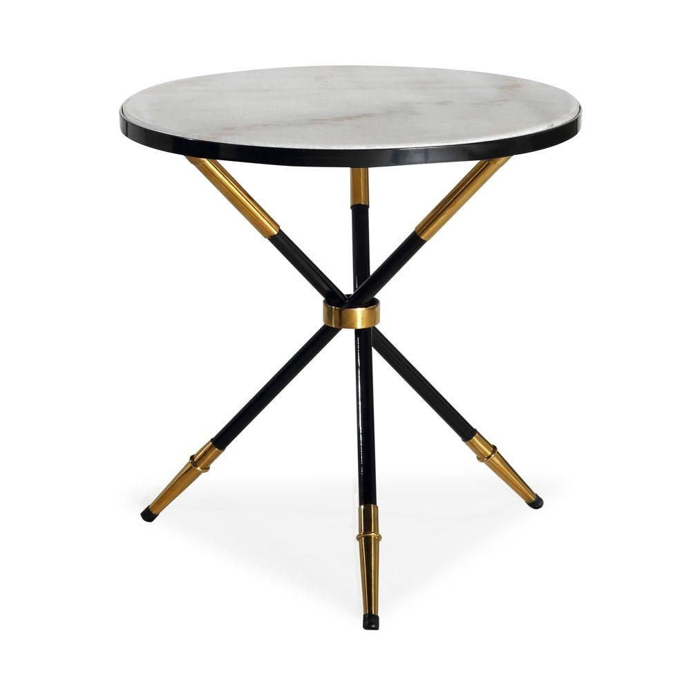 Liang Eimil Eton Side Table White Marble Black High Gloss Metal