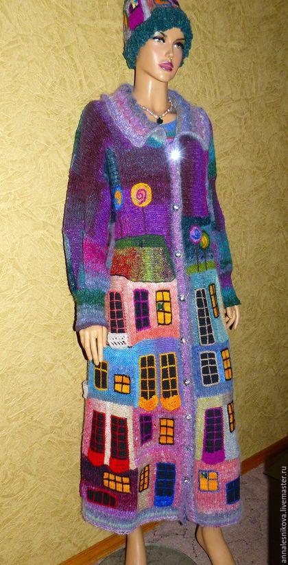 """Верхняя одежда ручной работы. Ярмарка Мастеров - ручная работа. Купить Пальто """"Вечерний Хундертвассер"""" -трапеция размер size+. Handmade."""
