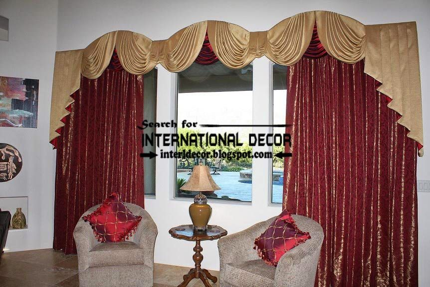 Unique Burgundy Curtain And Gold Drapery For Living Room