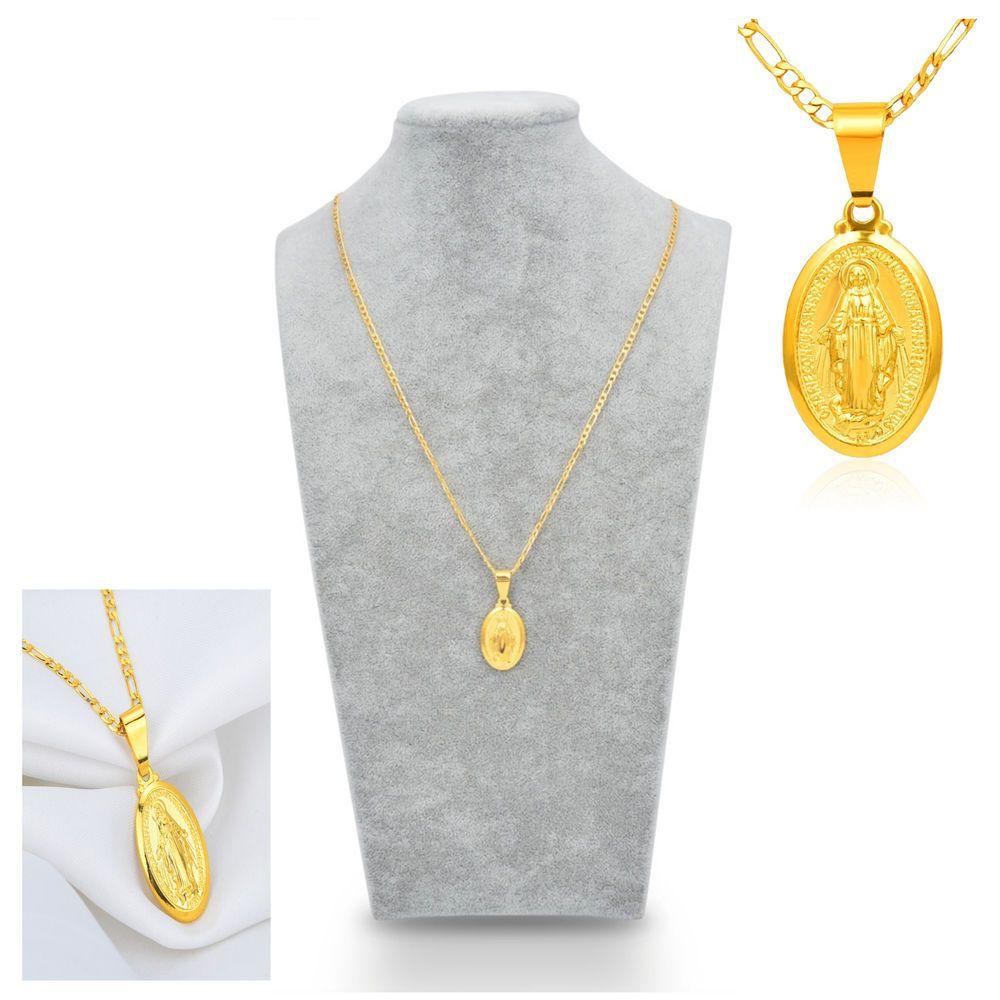 Men women gold plated catholic virgin mary pendant cm figaro chain