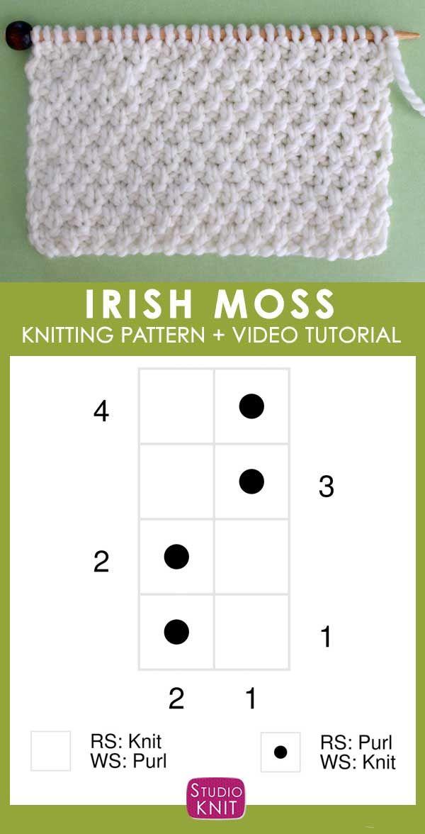 Photo of Wie man das IRISH MOSS Stichmuster mit Studio Knit strickt