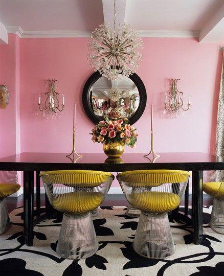 Inspiration Pink & Mustard  Mustard Hollywood Regency And Regency Delectable Mustard Dining Room Design Inspiration