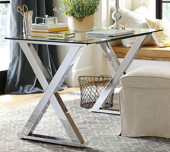 ava metal glass desk polished nickel finish the rowhouse desk rh pinterest com