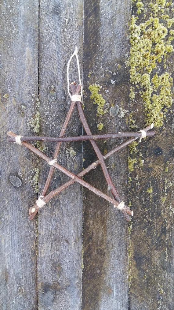twigs star rustic home decor primitive wall decor hanging star from birch branches natural wood sticks 5 point star pagan wiccan witchcraft