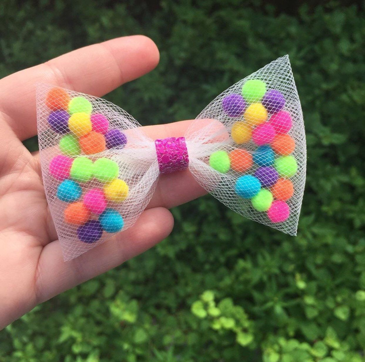 Pom Pom hair bows, kids Pom Pom hair clip, Pom Pom pig tail bows, Tulle hair bows , rainbow Pom Pom bow , Girl hair bow, Fun hair bow, Gift
