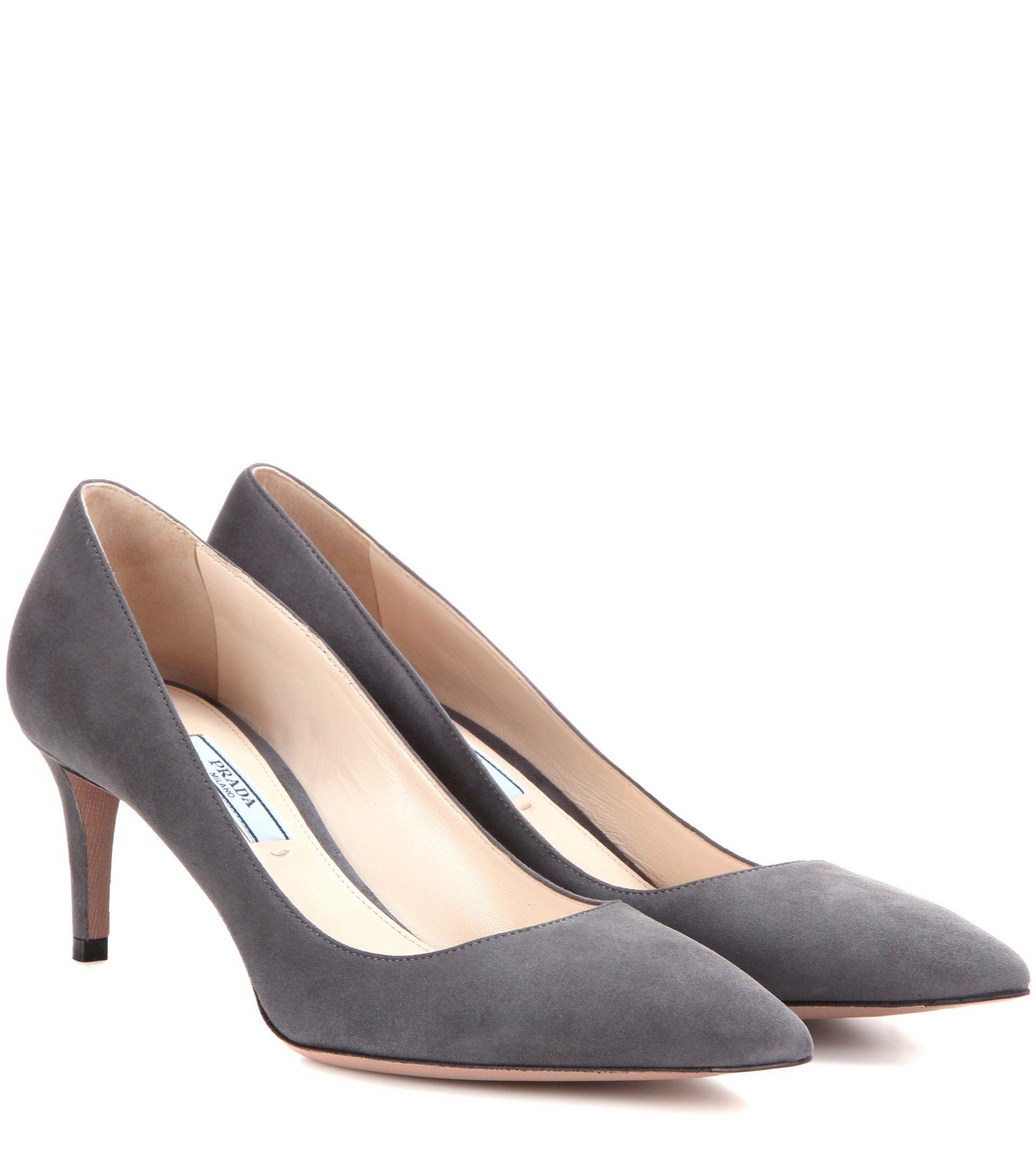 Prada Suede kitten-heel pumps Gray | Fashion | Pinterest | Kitten ...