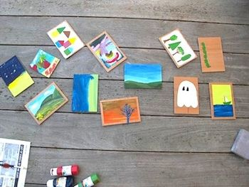 Handmade postcards - can create on wood, cardboard, or posterboard