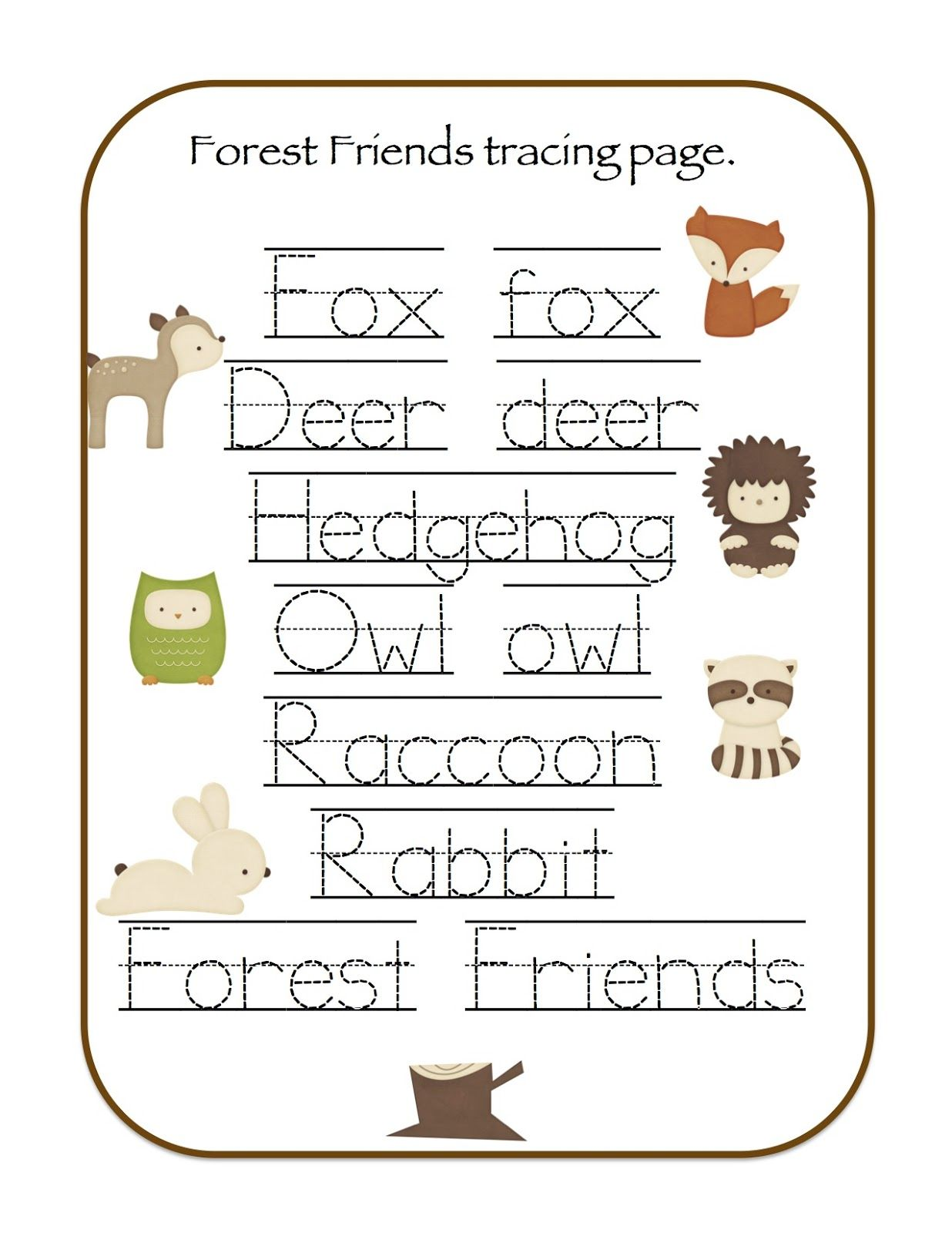 Preschool Printables Forest Animals Printable  Woodland
