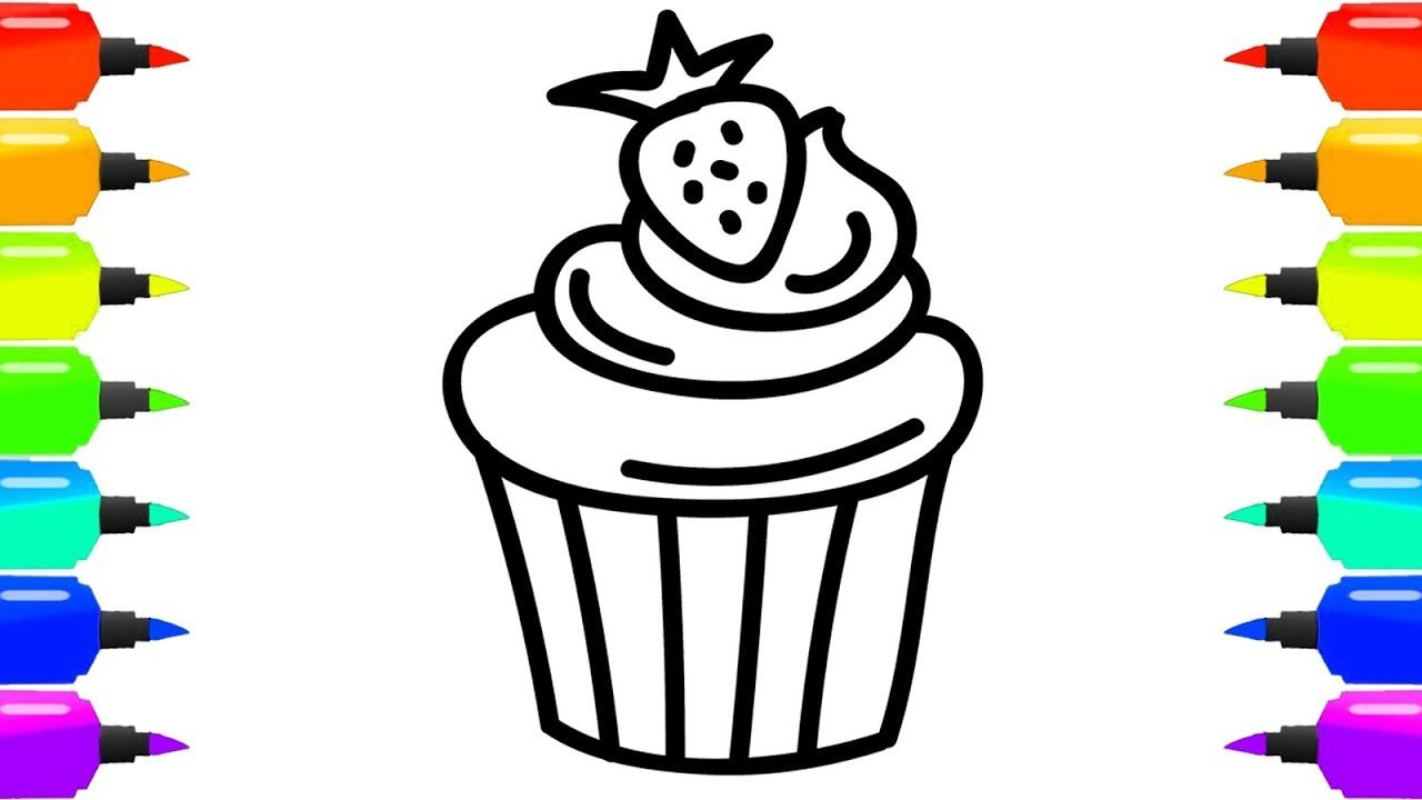 How To Draw Cake Coloring Page For Kids Cake And Flower Coloring Book For Children