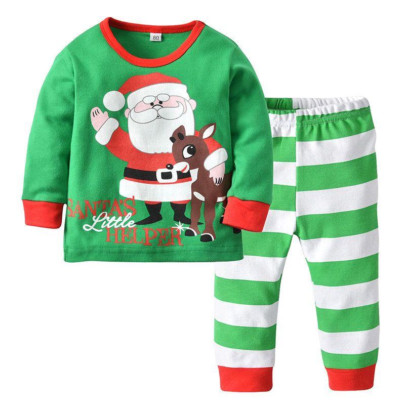 Baby Boy Girl Cartoon Long Sleeve Blouse Top Trousers 2Pcs Toddler Sleepwear Set