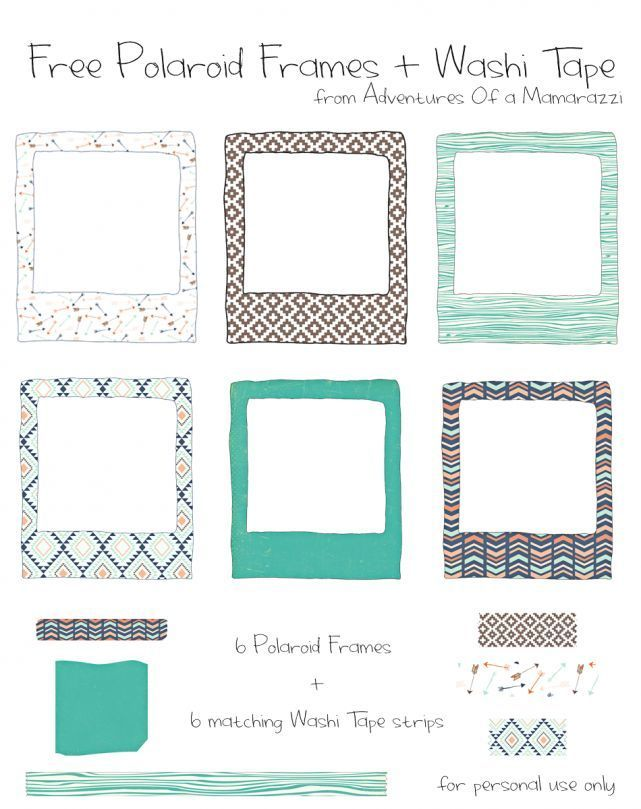 Free Printable 6 Patterned Polaroid Frames 6 Matching Washi