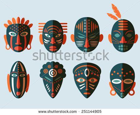 African Mask Icons Flat Design Tribal Ritual Symbols Stock