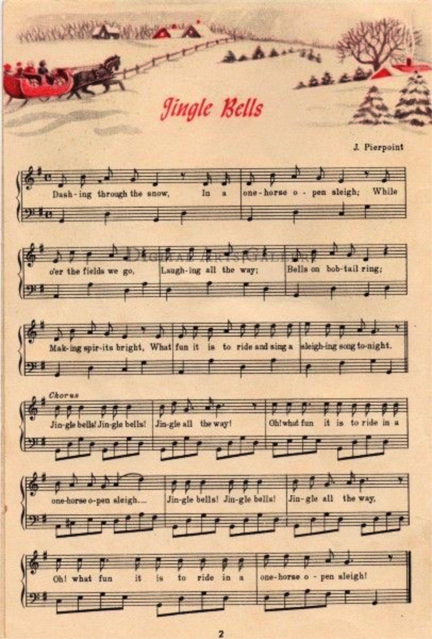 Jingle Bells Vintage Christmas Sheet Music Download