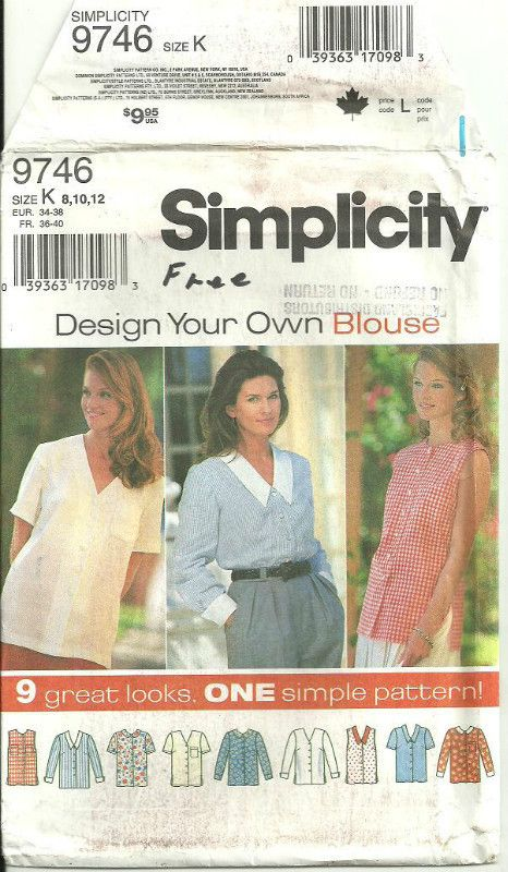 Simplicity 9746 Sewing Pattern Misses\' Blouse 9 Styles Size 8 10 12 ...