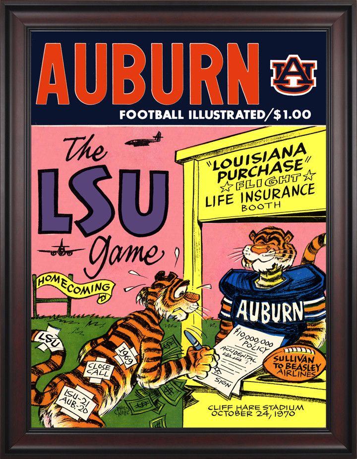 1970 Auburn Tigers vs LSU Tigers 36 x 48 Framed Canvas Historic Football Poster