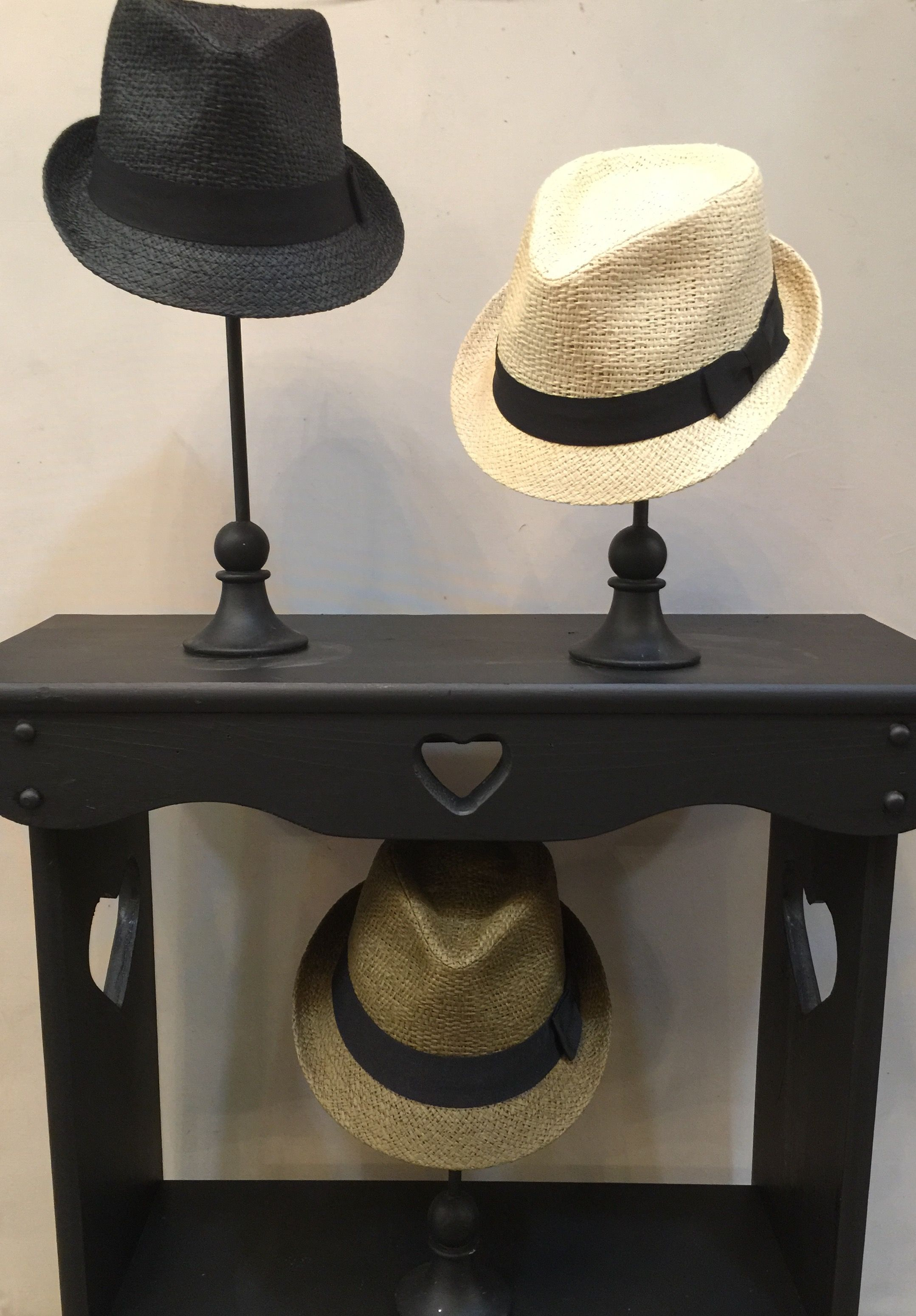 Straw Fedora's in Black, Natural & Green