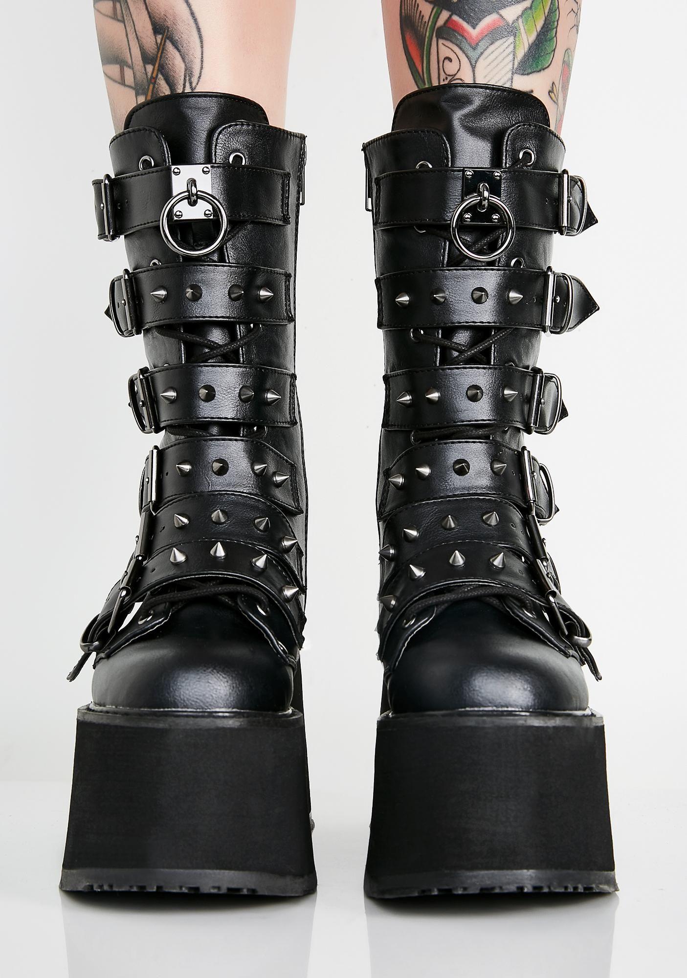 Demonia Shaker 52 Black Matte Platform 4.5 Wedge Goth Punk
