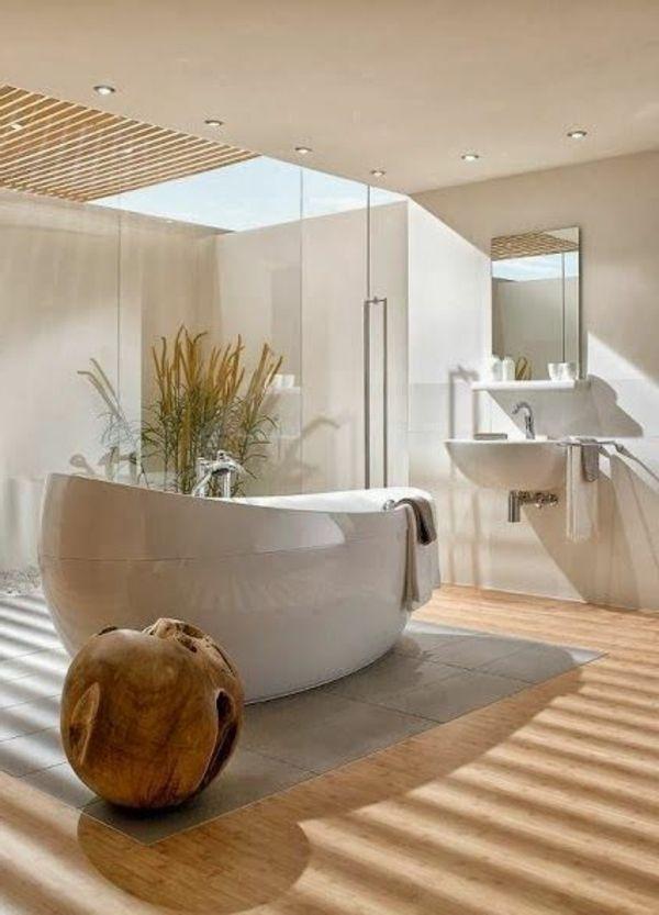 deckenbeleuchtung badezimmer ideen bilder beton badewanne - moderne badezimmermbel