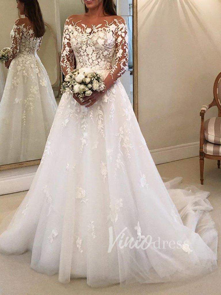 Long Sleeve Lace Wedding Dresses See Through Bridal Gown Vw1209 Vestido De Casamento Casamentos Noivado [ 1024 x 768 Pixel ]
