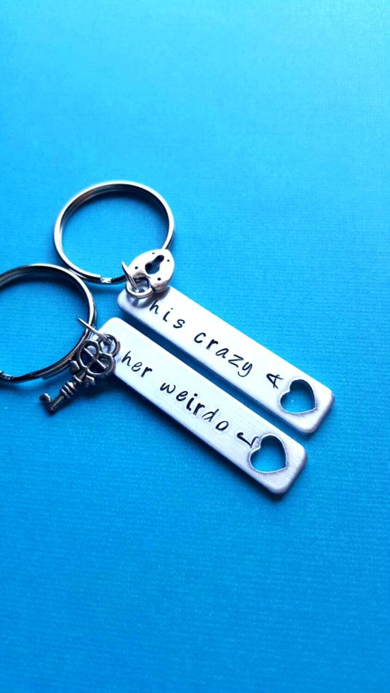 His Weirdo Her Crazy Lock And Key Boyfriend Friend Personalized Gift S Keychain Set Cute Keyrings Hers