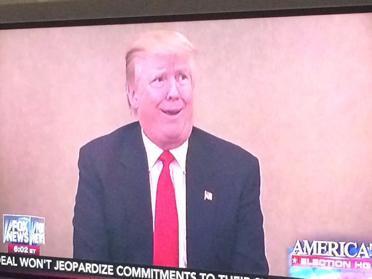 Donald Trump on Fox News. My dad paused it on this shot.