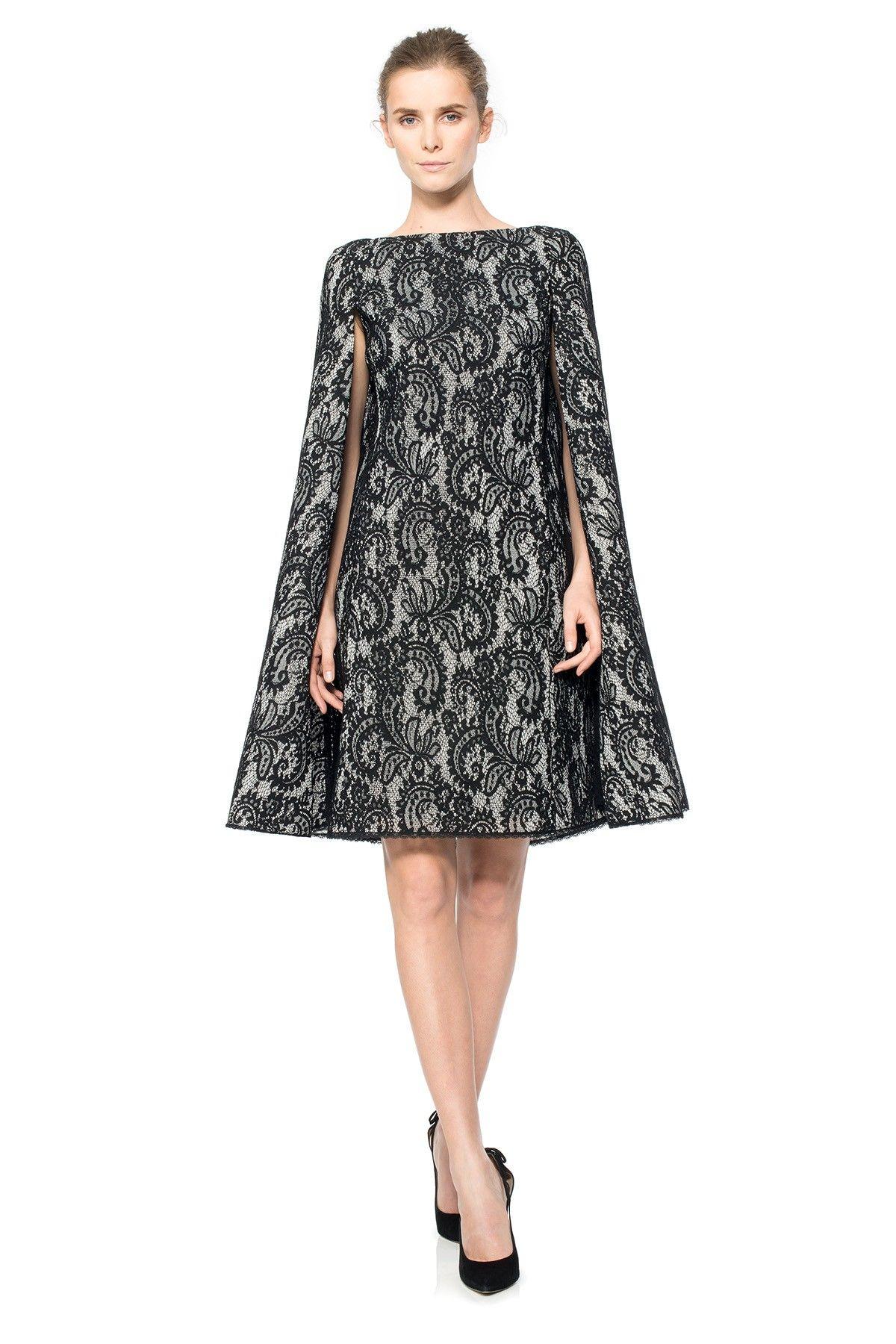 Corded Lace Spacer Mesh Cape Dress | Tadashi Shoji | Tadashi Shoji ...